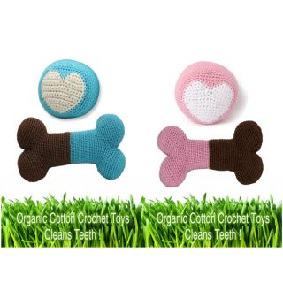 Hip Doggie Organic Crochet Dental Toys for Dogs   Bone and Ball Sets	   Dog   Boutique