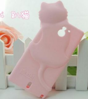 White Cute Lovely SILICONE Kiki Cat Cover CASE FOR SONY XPERIA SOLA