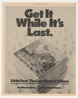 1975 Little Feat The Last Record Album Warner Bros Ad