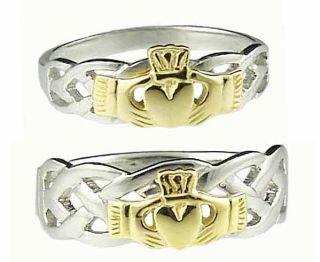 585 Weißgold Silber Irisch Keltisch Hochzeit Ring Set