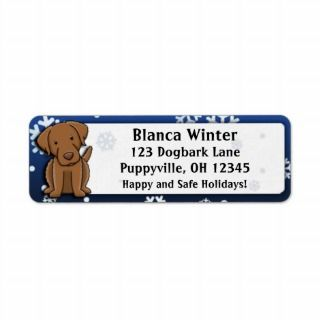 Winter Cartoon Chesapeake Bay Retriever Return Address Labels