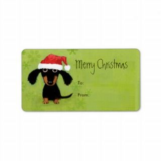 Funny Santa Dachshund Christmas Personalized Address Label