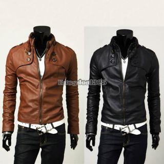 2012 Mode Männer PU Leather Jacket Herren Leder Mantel Jacke Coat