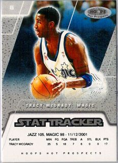 2002 03 Hoops Hot Prospects Stat Tracker #7 Tracy McGrady /74 Magic