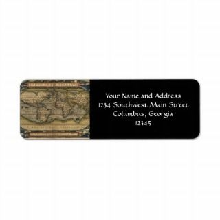 Vintage World Map Atlas Historical Design Return Address Label