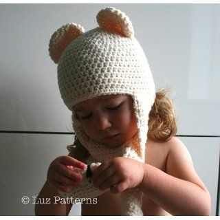 Crochet pattern baby bear hat with ear warmers (82) eBook Luz Mendoza