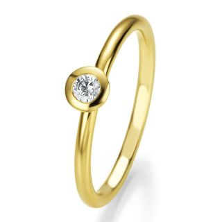 LUXUS Damen Solitär Brillant Ring 585 Gold/Gelbgold mit Diamant 0,125