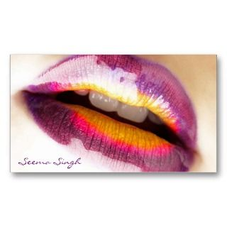 Makeup Artist Purple Lipgloss Business Card Template