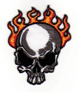 af51 Aufnäher Aufbügler Skull Feuer Totenkopf Flammen