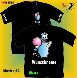 Bowling T Shirt Pin blauer Kegel Ball Muster 24