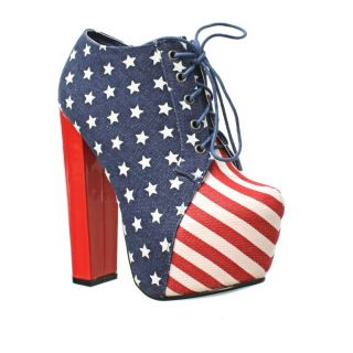 WOMENS AMERICAN FLAG STARS AND STARS PLATFORM HIGH HEEL ANKLE BOOTS