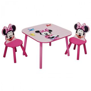 Disney Minnie Mouse Maus Tisch + 2 Stühle 60x60cm Holz Kinder