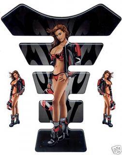 3D Gel Tankprotektor Streetfighter Pin Up Girl Rot Red Sport Babe Tank