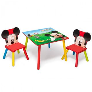 Disney Mickey Maus Kindertisch mit 2 Stühle 60x60cm Holz Kinder