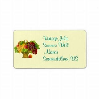 Vintage Fruit Basket Personalized Address Label