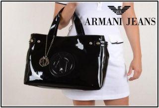Armani Jeans Tasche neu schwarz Lackleder Strass