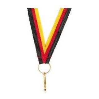 Medaillen Band schwarz/rot/gold, schmal 10 mm Sport