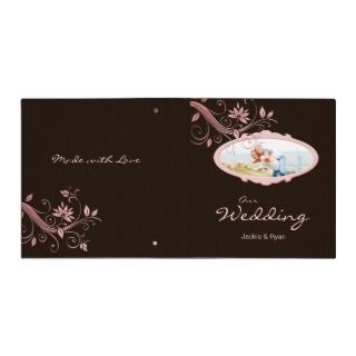 Floral Photo Binder Wedding Pink Brown Template