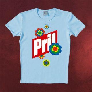 Frühlingshaftes Pril Logo T Shirt mit typischem Blumen Spülmittel