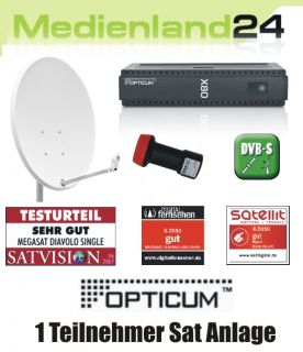 Teilnehmer Sat Anlage digital Opticum X80 FTA LNB 60cm Spiegel