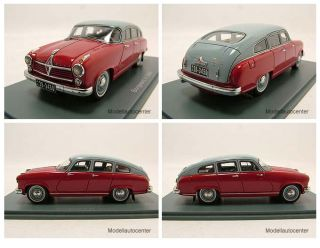 Borgward Hansa 2400 1955 rot/grau, Modellauto 143 / Neo Scale Models