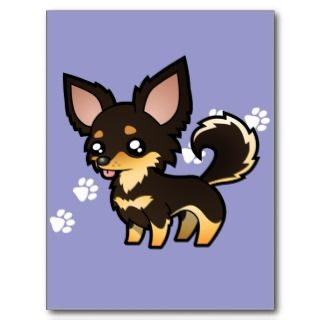 Cartoon Chihuahua (black and tan long coat) postcards by SugarVsSpice
