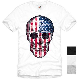 USA Skull T Shirt Totenkopf stars stripes flagge amerika Vintage US