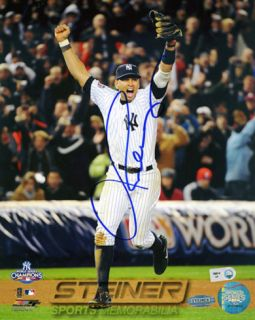 Alex Rodriguez Autographed Running Off The Field 2009 WS Celebration Vertical Photograph Photo