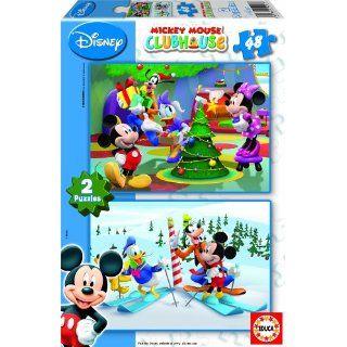 Puzzle 2 x 48 Teile   Micky Maus  Winterspaß Spielzeug