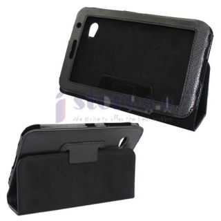 Black Folio Leather Case Cover for Samsung Galaxy Tab 7.0 Plus P6200