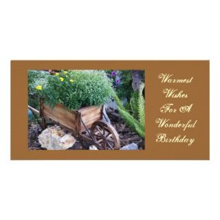Warmest birthday wishes, flowers in wheelbarrow photo cards
