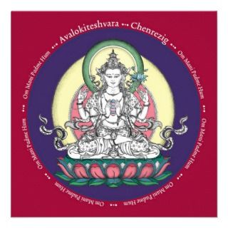 CARD Chenrezig / Avalokiteshvara   with envelope Personalized