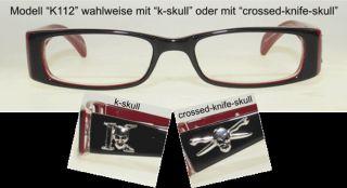 Brille komplett mit Totenkopf Emblem, Skull, Gothic 112