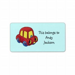 School Labels (toy car)