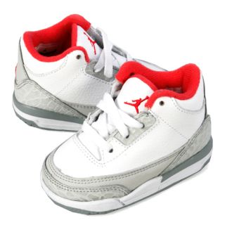 NIKE GIRLS AIR JORDAN 3 RETRO (TD) TODDLER SIZE 4 White Wolf Grey