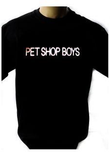 PET SHOP BOYS LOGO BLACK NEW T SHIRT FRUIT OF THE LOOM DTG