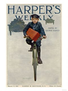 Florists Delivery Boy on a Bicycle, Harpers Weekly Cover for March 11, 1911 Giclee Print