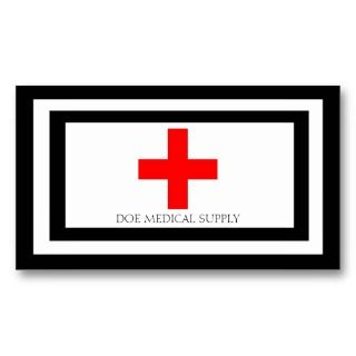Medical Supply Cross Red B/W Business Card Template
