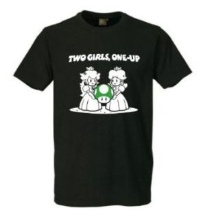 Two Girls 1 Up Fun T Shirt Super Mario, Zelda, Nintendo Schwarz