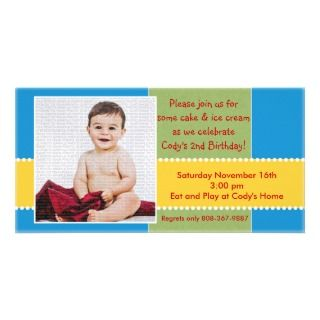 Yellow and Blue Birthday Boy Photo Card
