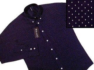New Mod Retro 60s Mini Polka Dot Navy Blue Shirt