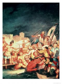 The Conquest of Mexico, Battle Between the Indians and the Spanish Giclee Print