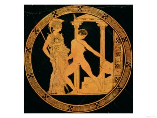 Red Figure Cup Depicting Athena, Theseus and the Minotaur Giclee Print