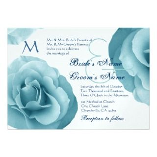 Baby Blue Rose and White Wedding Template Invitations