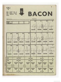 Used Page of Bacon Coupons from a Ration Book Giclee Print