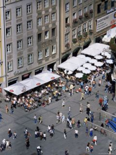 View Over Cafe from the City Hall, Marienplatz, Munich, Bavaria, Germany Photographic Print by Yadid Levy