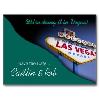 Las Vegas Save The Date (teal) Post Cards