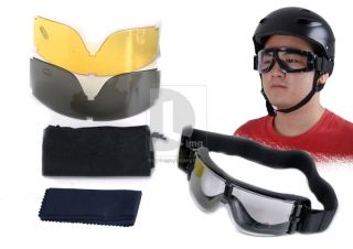 X800 Tactical Goggle UV400 Protection Transparent/Black/Yellow Lens