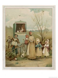 Punch and Judy Show Being Performed to a Small Audience in the Countryside Giclee Print by Patty Townsend