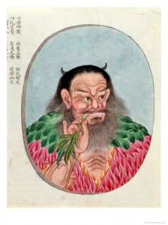The Legendary Emperor Shen Nung, Illustration from a Pen Tsao, 18th 19th Century Giclee Print